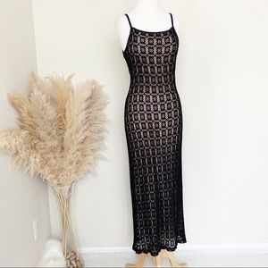 Hugo Buscati black lace dress with nude lining